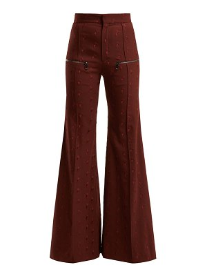 Chloe little horses high-rise wool-blend trousers