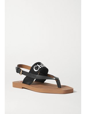 Chloe logo-print canvas and leather sandals