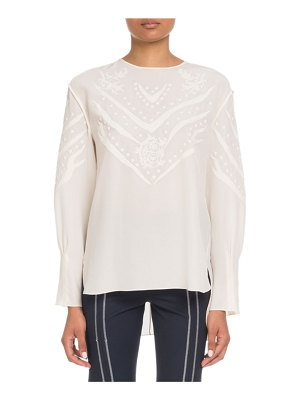 Chloe Long-Sleeve Embroidered Crepe de Chine Blouse