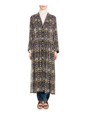 Chloe Long-Sleeve V-Neck Button-Front Blossom-Print Georgette Duster Jacket
