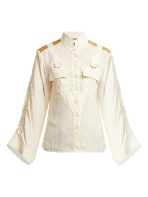 Chloe mandarin-collar patch-pocket blouse