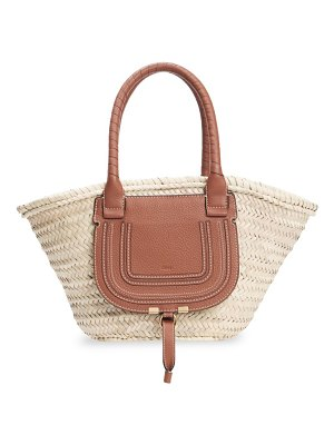 Chloe marcie leather-trimmed woven tote