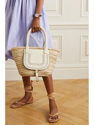 Chloe marcie textured leather-trimmed raffia tote