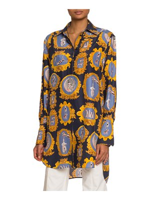 Chloe Medallion-Print Silk Button-Front Shirt