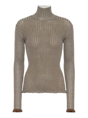 Chloe Metallic ribbed silk-blend sweater