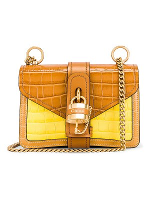 Chloe mini aby chain tricolor embossed croc shoulder bag