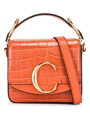 Chloe mini c embossed croc box bag