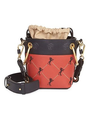 Chloe mini little horses embroidered leather bucket bag