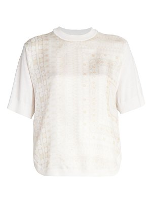 Chloe moasic twill & wool t-shirt