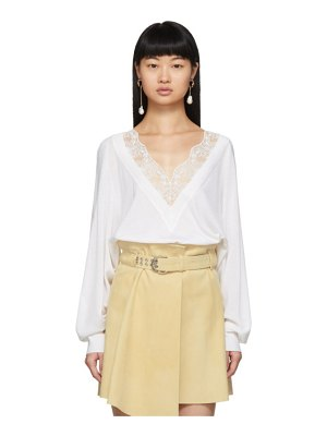Chloe off-white wool and silk lace v-neck sweater