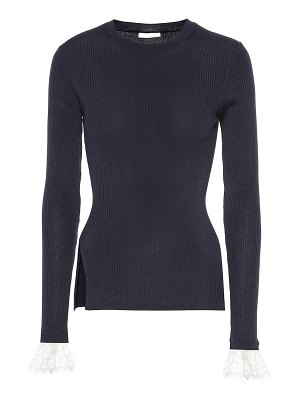 Chloe organza-trimmed ribbed-knit sweater