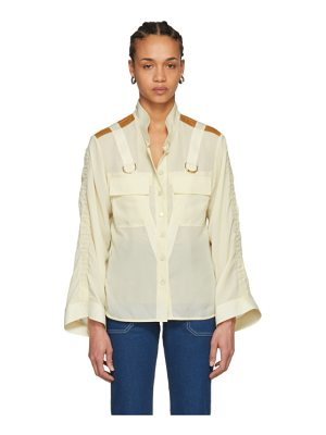 Chloe beige patch pocket d-ring shirt