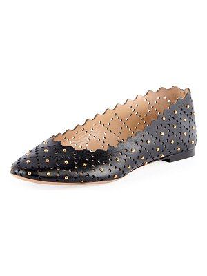 Chloe Perforated Leather Ballet Flat with Studs