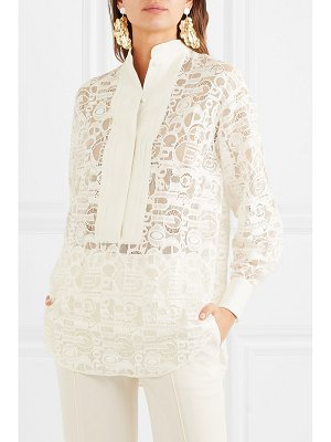 Chloe pintucked linen-trimmed lace blouse