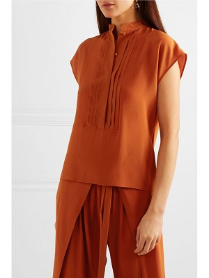 Chloe pintucked silk-crepe blouse