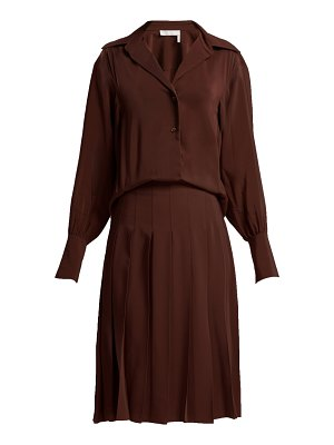 Chloe Pleated silk crepe de Chine shirtdress