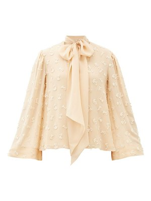 Chloe pussy-bow guipure lace-embroidered silk blouse