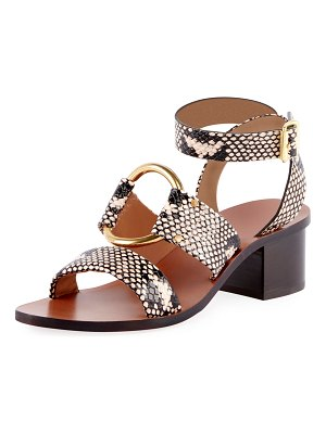 Chloe Rony Snake-Embossed Cutout Lace-Up Sandals