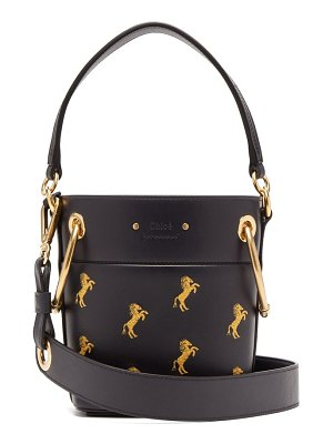 Chloe roy little horse embroidered leather bucket bag