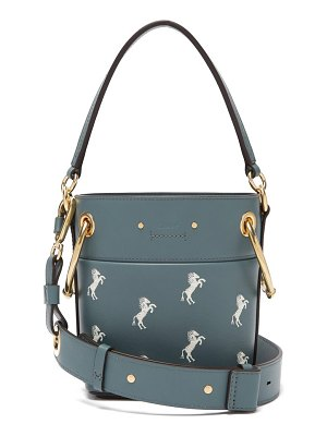 Chloe Roy Little Horses Embroidered Leather Bucket Bag