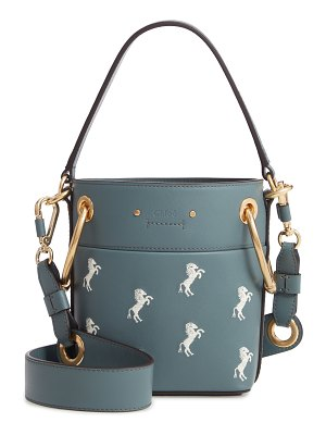 Chloe roy mini embroidered leather bucket bag