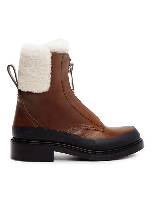 Chloe roy shearling-lined leather combat boots