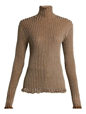 Chloe Ruffle-trimmed metallic-knit silk-blend sweater
