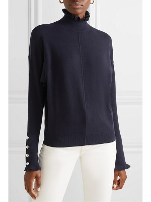 Chloe ruffled button-detailed cashmere turtleneck sweater
