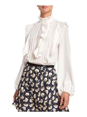 Chloe Ruffled Crepe de Chine Button-Front Top