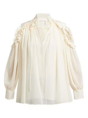 Chloe ruffled cut-out shoulder silk blouse