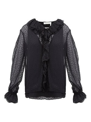 Chloe ruffled flocked silk blend blouse