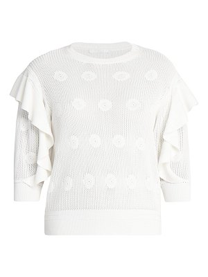 Chloe ruffled floral knit sweater