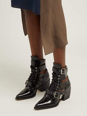 Chloe rylee cut-out patent-leather ankle boots