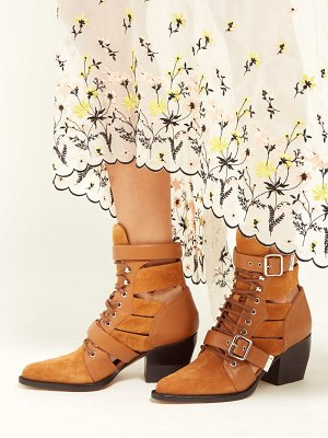 Chloe rylee cut out suede ankle boots