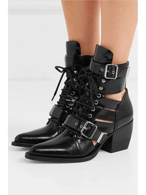 Chloe rylee cutout glossed-leather ankle boots