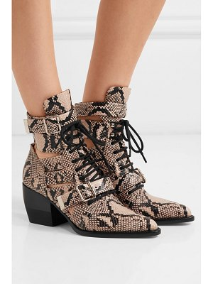 Chloe rylee cutout snake-effect leather ankle boots