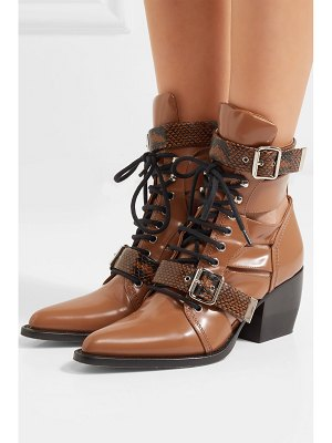 Chloe rylee cutout snake effect-trimmed leather ankle boots