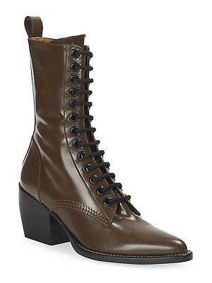 Chloe rylee lace-up leather mid-calf boots