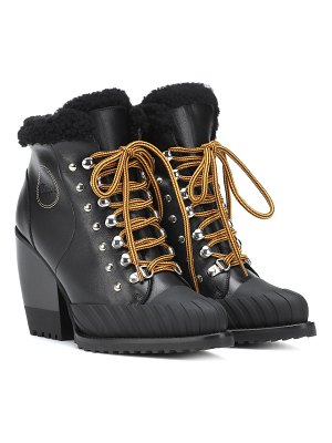 Chloe rylee leather and shearling boots