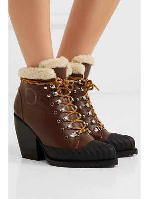 Chloe rylee shearling-trimmed leather and rubber ankle boots