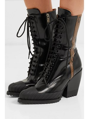 Chloe rylee snake-effect leather-trimmed glossed-leather ankle boots