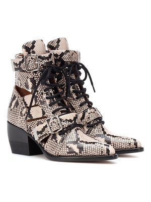 Chloe rylee snake-embossed leather ankle boots