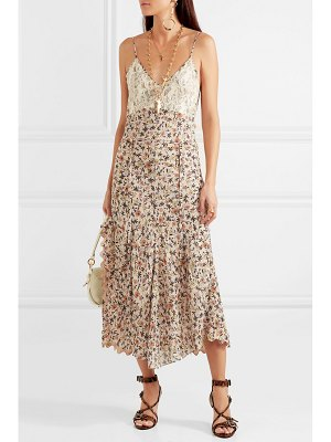 Chloe scalloped lace-trimmed floral-print crepe dress