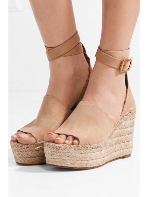 Chloe scalloped suede espadrille wedge sandals