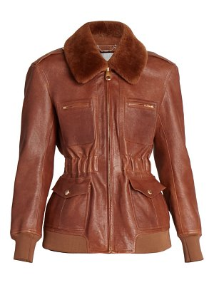 Chloe shearling-trimmed leather flight jacket