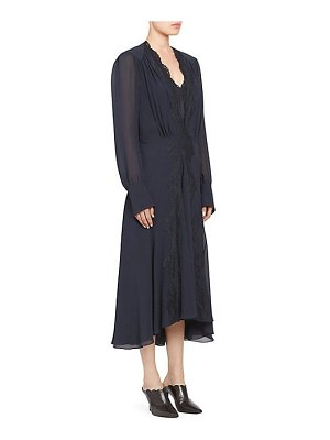 Chloe silk georgette lace trim long dress