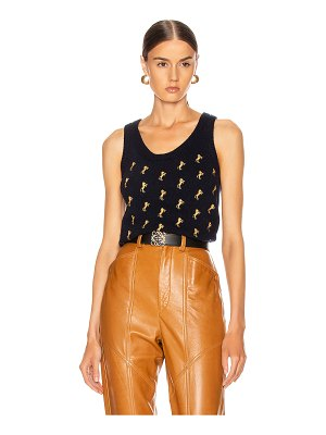 Chloe sleeveless embroidered horse top