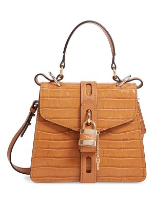 Chloe small aby croc embossed leather shoulder bag
