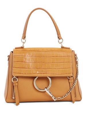Chloe small faye day croc embossed leather shoulder bag