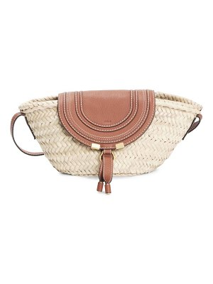Chloe small marcie leather-trimmed raffia tote